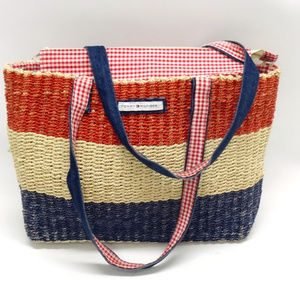 Tommy Hilfiger Red/Tan/Blue Striped Straw Tote